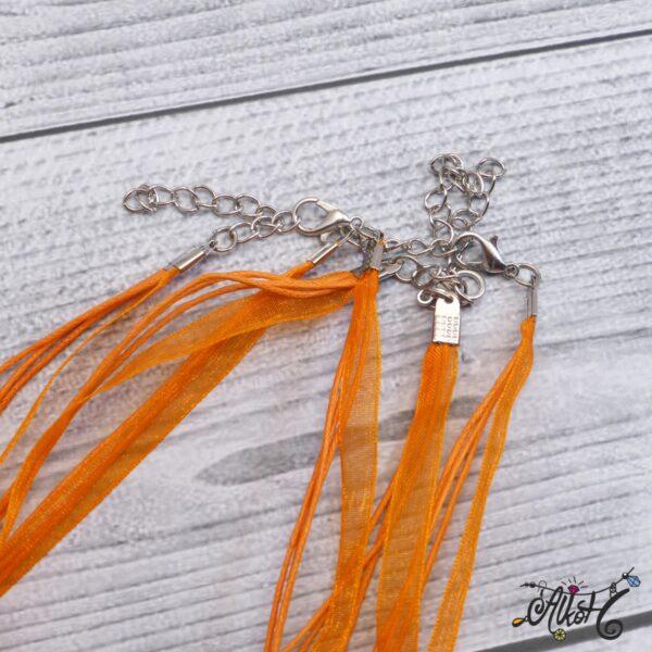 Organza nyaklánc alap - narancs 4