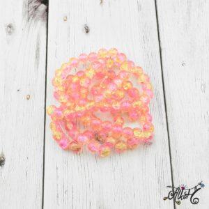 Robbantott gyöngy – sárga-rózsaszín, 8 mm