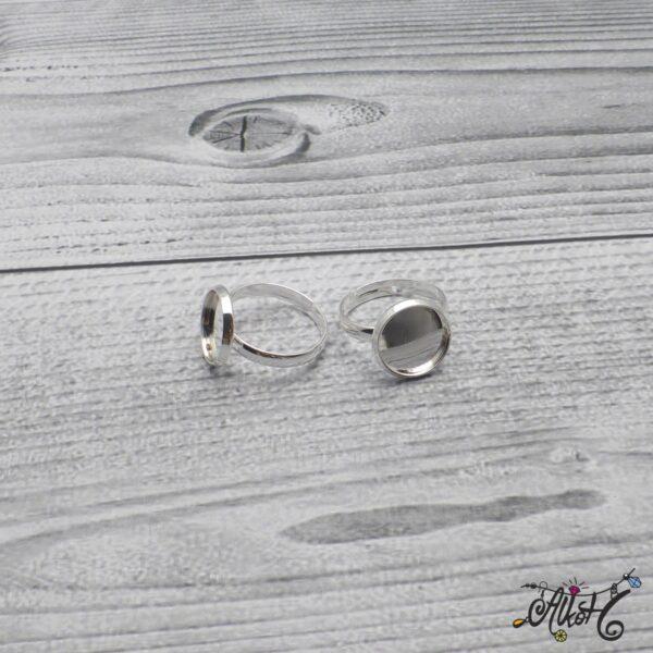 """Ezüst színű gyűrű alap - """"tányéros"""" (12 mm) 5"""
