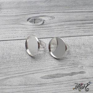 """Ezüst színű gyűrű alap – """"tányéros"""" (24mm)"""