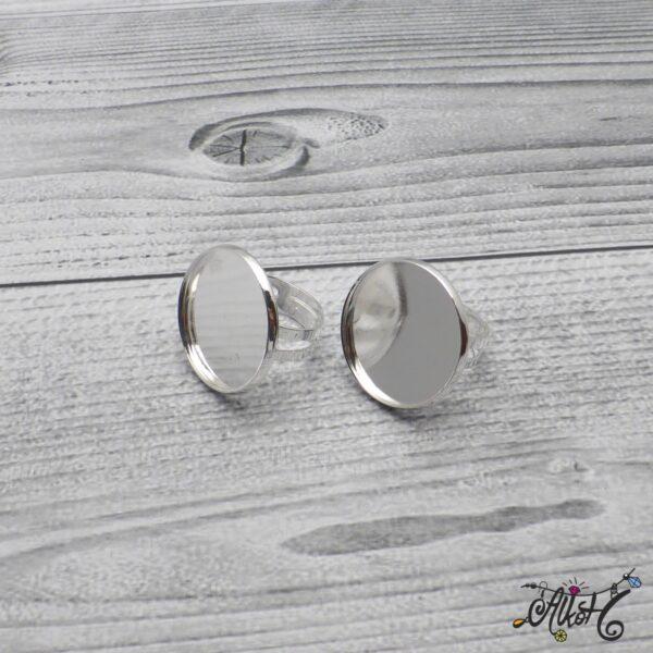 """Ezüst színű gyűrű alap - """"tányéros"""" (24mm) 3"""