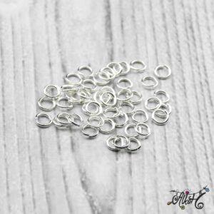 Szerelőkarika szimpla – ezüst 4 mm (20db)