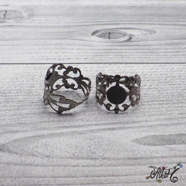 Díszes gyűrű alap - acél szín 3