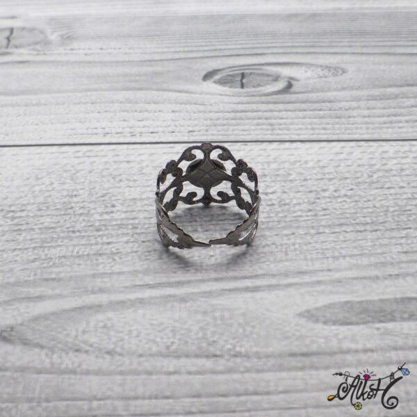 Díszes gyűrű alap - acél szín 5