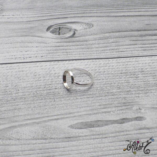 """Ezüst színű gyűrű alap - """"tányéros"""" (12 mm) 4"""