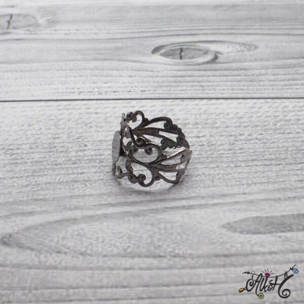 Díszes gyűrű alap - acél szín 4