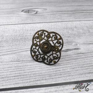Antik bronz virág gyűrű alap – ragasztható