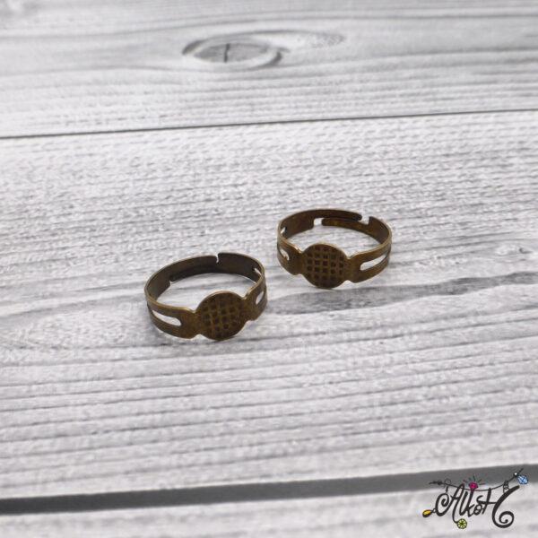 Antik bronz gyűrű alap - ragasztható 4