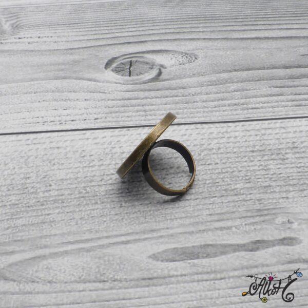 """Antik bronz gyűrű alap – """"tányéros"""" (25mm) 5"""