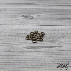 Szerelőkarika dupla – antik bronz, 6 mm (20db)
