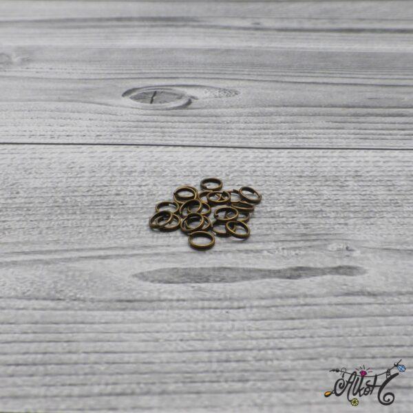 Szerelőkarika dupla - antik bronz, 6 mm (20db) 3