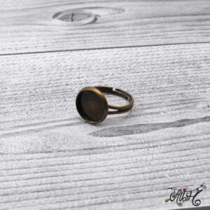 """Antik bronz gyűrű alap – """"tányéros"""" (12mm)"""