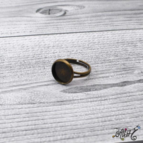 """Antik bronz gyűrű alap - """"tányéros"""" (12mm) 2"""