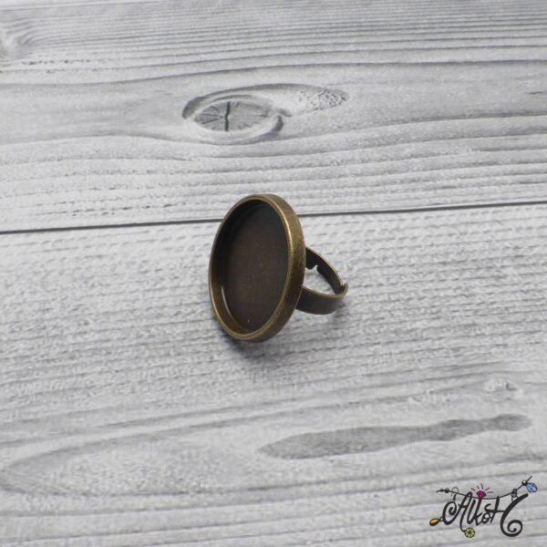 """Antik bronz gyűrű alap – """"tányéros"""" (25mm) 4"""