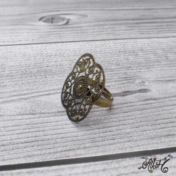 Antik bronz virág gyűrű alap - ragasztható 4
