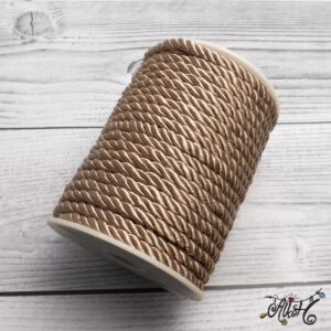 Selyemfényű sodrott zsinór – cappuccino, 5mm