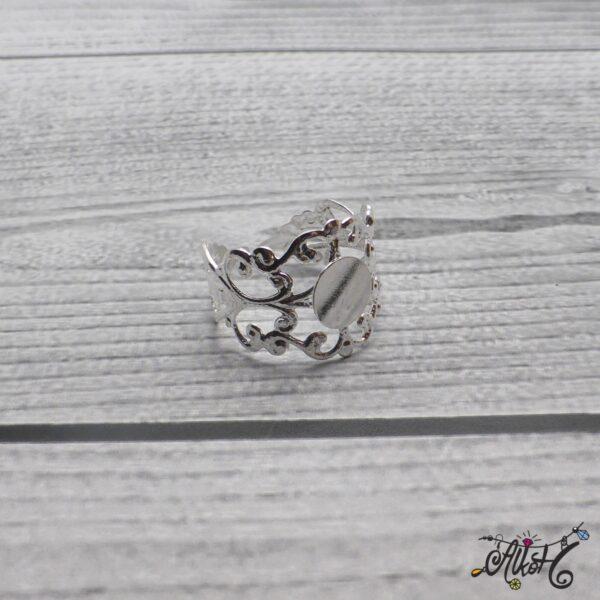 Díszes gyűrű alap - ezüst 5