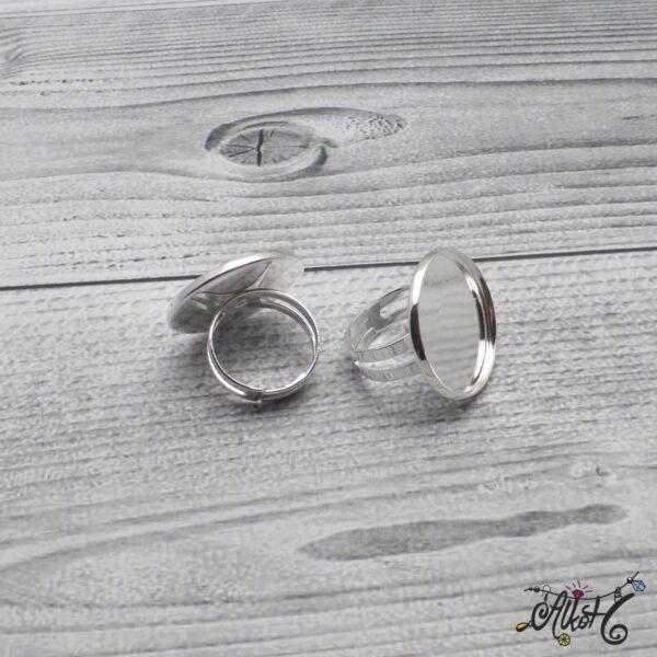 """Ezüst színű gyűrű alap - """"tányéros"""" (24mm) 4"""