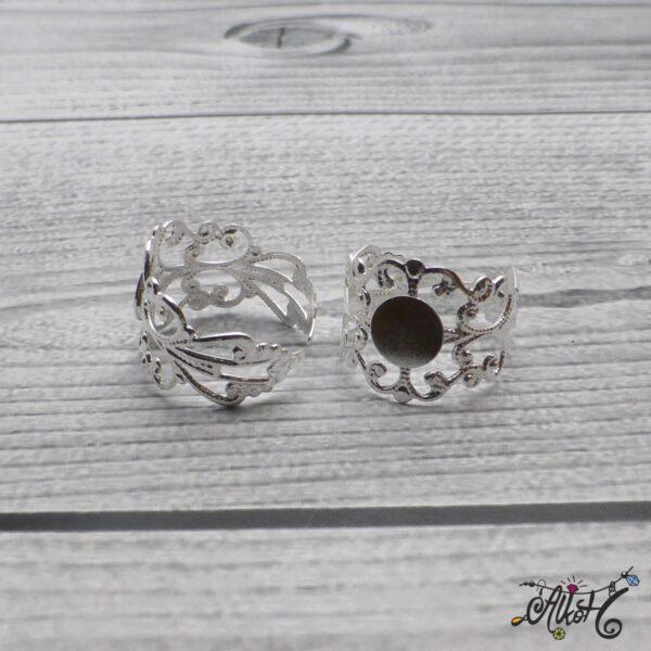 Díszes gyűrű alap - ezüst 3