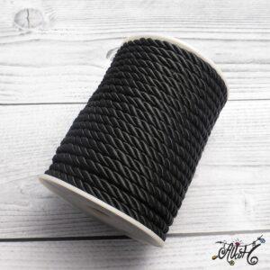 Selyemfényű sodrott zsinór – fekete, 5mm