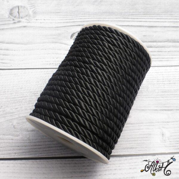Selyemfényű sodrott zsinór - fekete, 5mm 3