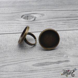 """Antik bronz gyűrű alap – """"tányéros"""" (25mm)"""