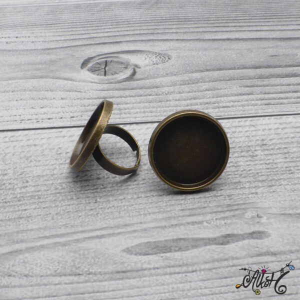 """Antik bronz gyűrű alap – """"tányéros"""" (25mm) 3"""