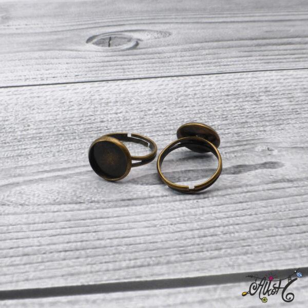 """Antik bronz gyűrű alap - """"tányéros"""" (12mm) 3"""