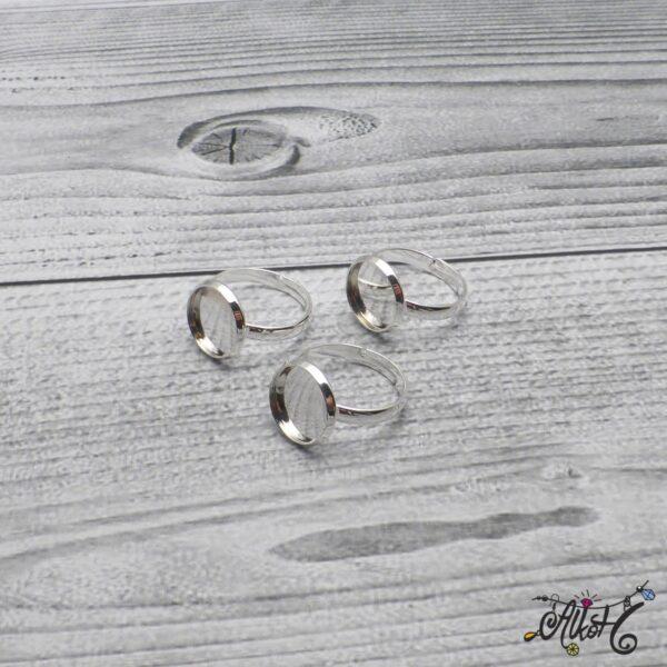 """Ezüst színű gyűrű alap - """"tányéros"""" (12 mm) 3"""