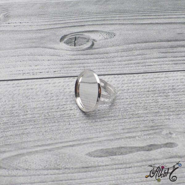 """Ezüst színű gyűrű alap - """"tányéros"""" (24mm) 5"""