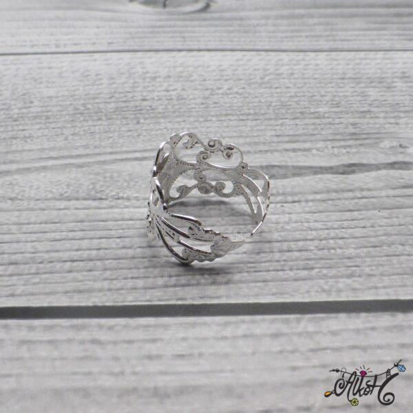 Díszes gyűrű alap - ezüst 4