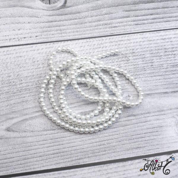 Viaszgyöngy - hófehér, 4 mm 3