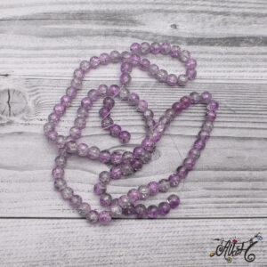 Robbantott gyöngy – lila-áttetsző, 8 mm