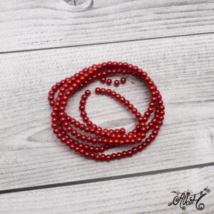 Viaszgyöngy – sötét piros, 4mm