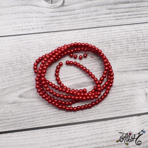 Viaszgyöngy - sötét piros, 4mm 3