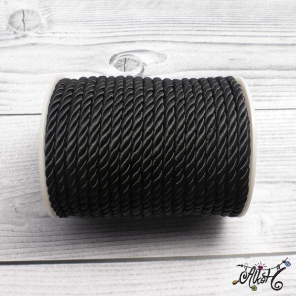 Selyemfényű sodrott zsinór - fekete, 5mm 4