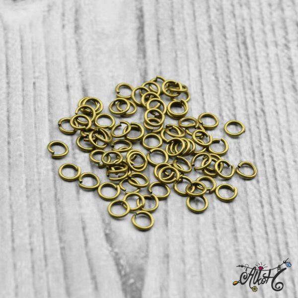 Szerelőkarika szimpla - antik bronz 4 mm 3