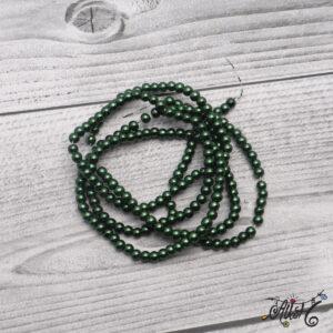 Viaszgyöngy – sötétzöld, 4mm