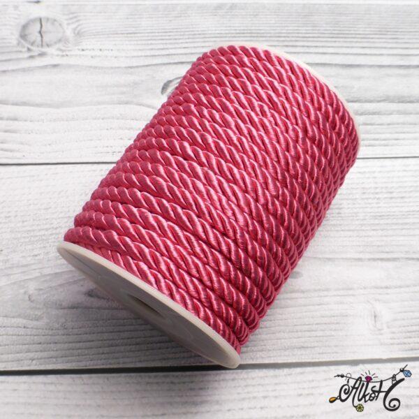 Selyemfényű sodrott zsinór - pink, 5mm 3