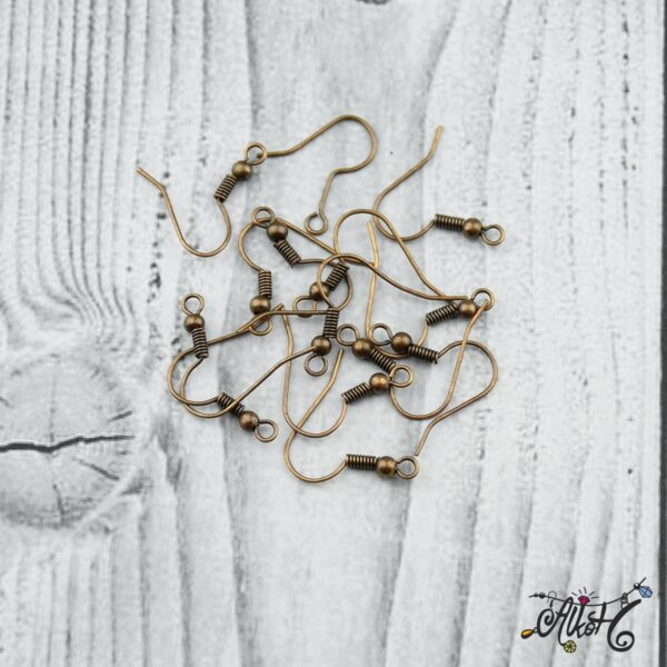 Fülbevaló akasztó - vörösréz színű (20db) 2