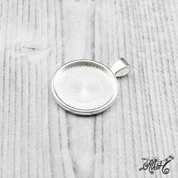 Ezüst színű medál alap - 25,5mm 4