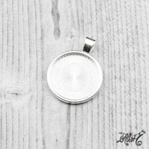 Ezüst színű medál alap – 25,5mm
