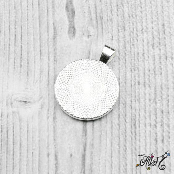 Ezüst színű medál alap - 25,5mm 5