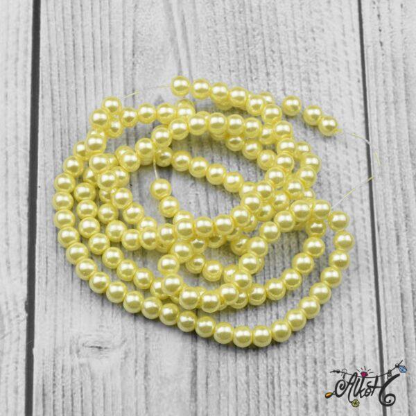 Viaszgyöngy - citromsárga, 6mm 3