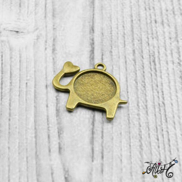 Elefánt medál alap (belső: 14mm) 5