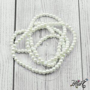 Viaszgyöngy – hófehér, 6 mm