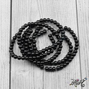 Viaszgyöngy – fekete, 6mm
