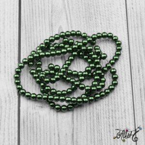 Viaszgyöngy – sötétzöld, 6mm