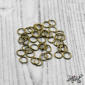Szerelőkarika szimpla – antik bronz 6 mm (20 db)