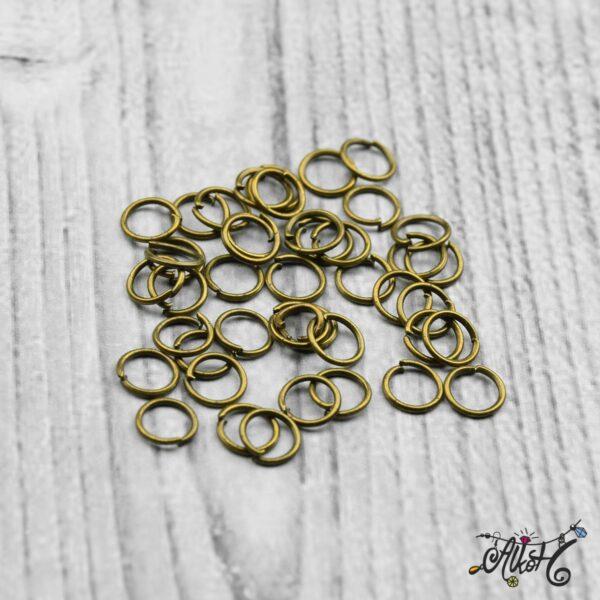Szerelőkarika szimpla - antik bronz 6 mm (20 db) 3